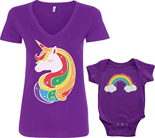 Threadrock Unicorn & Rainbow Infant Bodysuit & Women's...