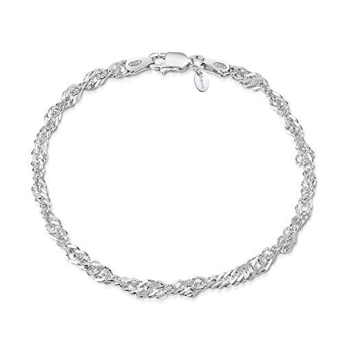 Amberta 925 Sterlingsilber Armkette - Singapurkette Armband - 3.6 mm Breite - Verschiedene Längen: 18 19 20 cm (18cm)