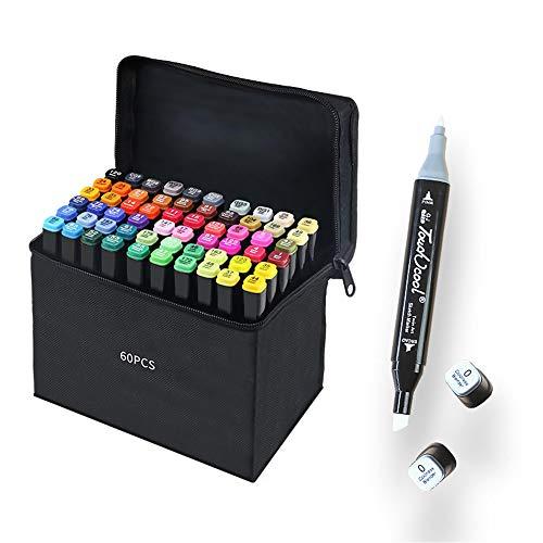 60 Colores Marker Pen Set Dibujo Rotulador Animación Boceto Marcadores Set con Estuche de Transporte para Dibujar Colorear Resaltar y Subrayar (60 Pcs)