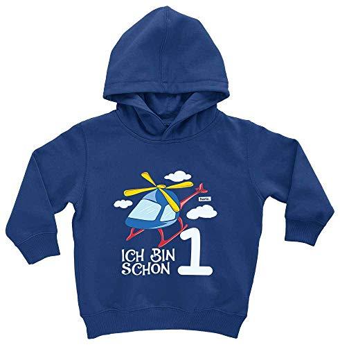 HARIZ HARIZ Baby Hoodie Ich Bin Schon Eins Hubschrauber Wolken 1 Geburtstag Kinder Baby Plus Geschenkkarte Royal Königs Blau 1-2 Jahre