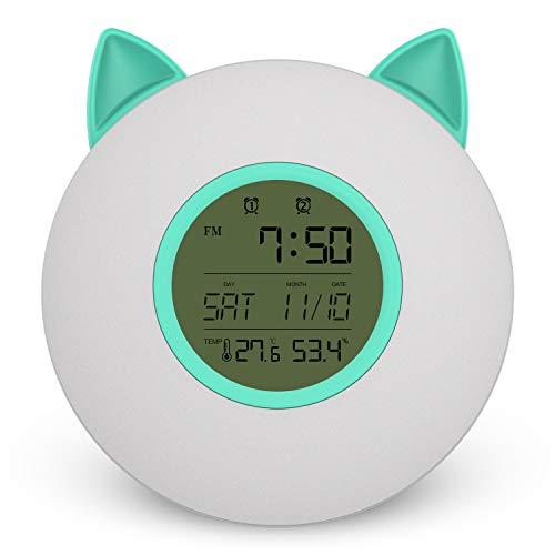 LED Luces de despertador con Simulación de Amanecer y Atardece - USB Recargable Lámpara de noche para infantil - Control Táctil Sensible, Temperatura, humedad, Radio FM, Brillo Dimmable,Green