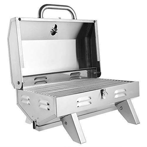 ZDMATHE Tabletop Stainless Steel Grill Portable Portable Propane Gas Grill BBQ Grid with Foldable Legs, 12000 BTU, for Outdoor Camping Picnic (Silver) Grills Propane
