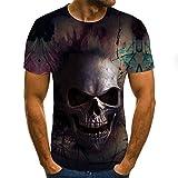 Camisa con Estampado De Calavera De Verano,Divertida Camiseta para Hombre,Ropa,Camiseta De Manga Corta,Ropa De Calle,Tops Impresos En 3D,L