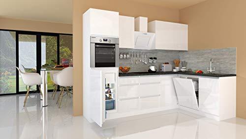 respekta Winkelküche Küchenzeile Küche L-Form Küche grifflos Weiß Hochglanz 280x172 cm