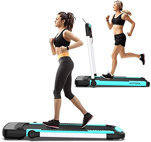 Murtisol 2 in 1 Folding Treadmill, 2.25HP Under Desk Electric Treadmill, Installation-Free with APP, Remote Control and LED Display, Portable Walking Machine for Home, Office & Gym, White & Blue