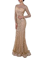 Gold O-Neck Long Sleeve Pattern Glitter Maxi Elegant Dress