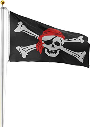 normani Aluminium Fahnenmast 6,20 6,80 oder 7,50 m Höhe inklusive Piratenflagge Totenkopf Fahne (90 x 150 cm) Farbe Totenkopf mit Bandana Größe 8.00 Meter