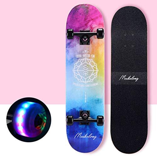 Komplette Skateboards Standard Skateboard Buntes leichtes Konkavdeck Double Kick Tail Hochwertige Ahorn 4 Räder Geeignet für Kinder Mädchen Jungen Anfänger (Color : F)