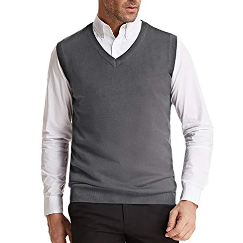 PJ PAUL JONES Slim Fit V-Neck Pullover Sweater Vest for Men Basic Solid L Grey