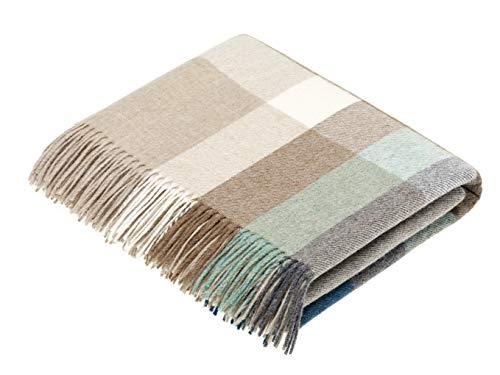 Moon Wool Throw Blanket, Merino Lambswool, Harley Stripe Eucalyptus, Made in UK