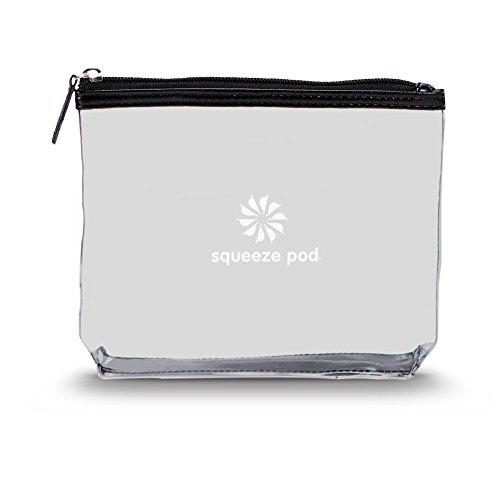 Squeeze Pod TSA Approved Clear Toiletry Bag, 3-1-1 TSA Compliant Quart Size Carry On Bag for Travel Size Liquids, Toiletries & Cosmetics - Durable PVC Plastic, Heavy Duty Zipper, Black Trim (CTBBLK)
