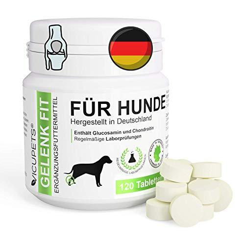 Vicupets Gelenk Fit - 120 Hunde Gelenktabletten Hunde | Gelenkkapseln hochdosiert mit Glucosamin und Chondrotin | (300mg/Tab & 100mg/Tab)