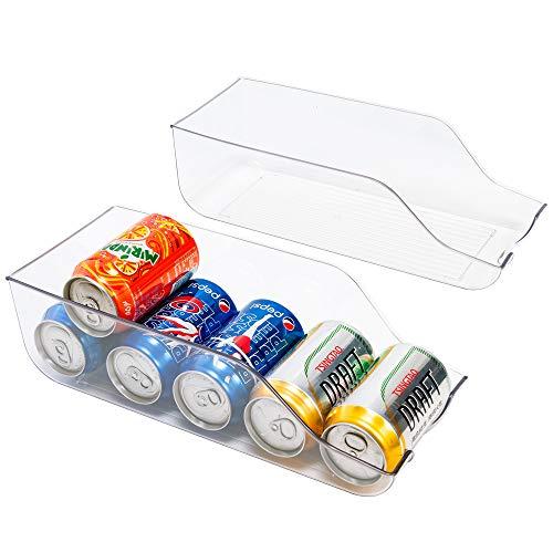 blitzlabs Kühlschrank-Organizer für Getränke, Getränke, Halter für Kühlschrank, Gefrierschrank, Küche, Arbeitsplatten, Schränke – transparenter Kunststoff, Vorratsregal, 2 Stück