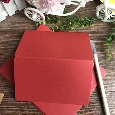 HKXR 10pcs / Pack DIY en Blanco Plegable Tarjetas de Papel Doodle Papel de la Perla de Dibujo a Mano Tarjetas Tarjeta del Feliz cumpleaños Tarjetas de felicitación (Color : Rojo)