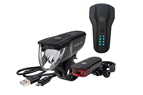 Büchel Unisex– Erwachsene Vancouver Pro Akkuleuchten-Set, Lithium-Ionen-Akku, Micro USB-Ladebuchse, Osram LED, schwarz
