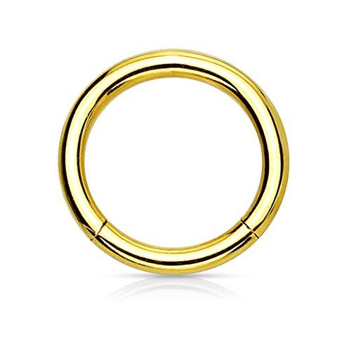 eeddoo Piercing-Ring Segmentring Gold Edelstahl Stärke: 4,0 mm 12 mm
