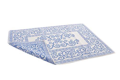 HomeLife – Alfombra de baño Rectangular de algodón [Dimensiones: 45x60] – Alfombrilla para Ducha de Calidad Fabricada en Italia y Lavable en Lavadora – Decoración barroca, Azul Claro
