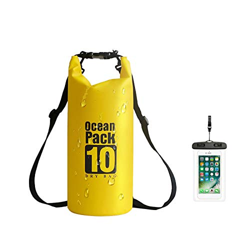 iMeshbean Dry Bag - Bolsa impermeable, 10 L/20 L, portátil y ligera, para navegar, kayak, rafting, pesca, esquí (amarillo, 10 L)