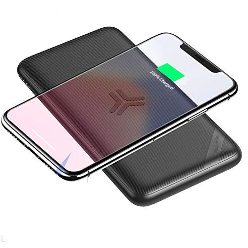 YZCM Inalámbrico portátil Cargador 10000mAh PD 3.0 Banco de alimentación de CC 3.0 18W USB C batería Externa Pack Dos de Entrada y teléfono Celular Tri-Salida del Cargador de batería,Negro