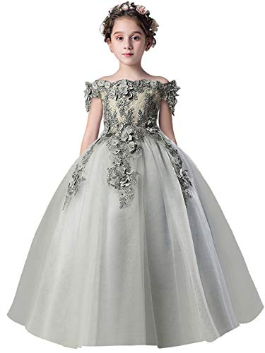 Flower Girl Dress Kids Lace Beaded Off The Shoulder Pageant Ball Gown(Gray,110)