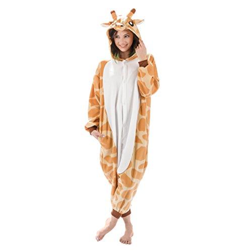 Emolly Fashion Adult Giraffe Animal Onesie Costume Pajamas for Adults and Teens (X-Large, Giraffe)