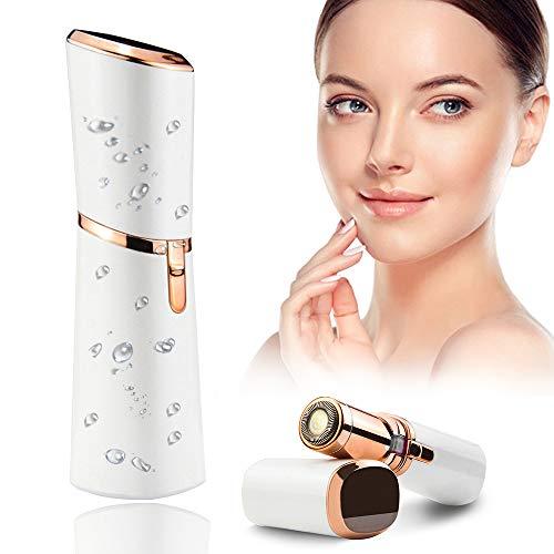Depiladora Facial Mujer Electrica, Eléctrico Depilar para Sin dolor, maquinilla de afeitar impermeable para mujer para cara, con Luz LED Incorporada Baterí Labios Barbilla y Cuello
