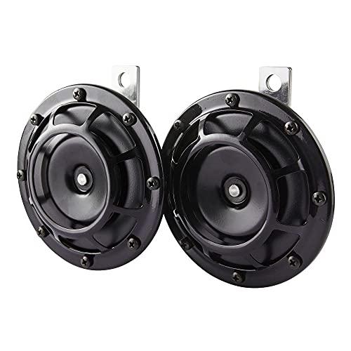 HELLA 3AG 003 399-101 Horn - B133 - 24V - 118dB(A) - Frequenzbereich: 375/500Hz - Starkton - Gehäusefarbe: schwarz - Flachsteckanschluss - Set - Menge: 2