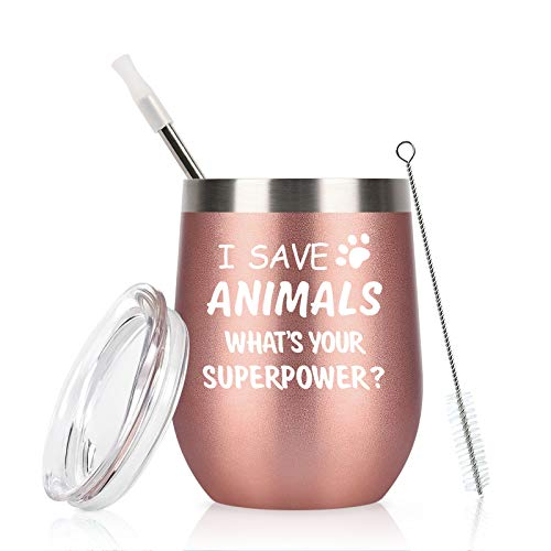 I Save Animals, Whats Your Superpower-Vet Tech Gift Stainless Steel Wine Tumbler with Lid, Birthday...