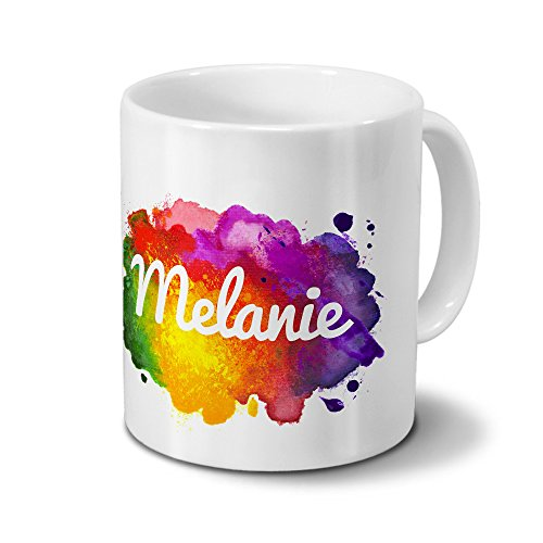 Tasse mit Namen Melanie - Motiv Color Paint - Namenstasse, Kaffeebecher, Mug, Becher, Kaffeetasse - Farbe Weiß