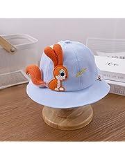 JIAMIN Sombrero de playa para niños, sombrero de verano, lindo ardilla, sombrero de sol de primavera, al aire libre, playa, pescador, sombrero de playa para niños (color: azul, tamaño: 1 a 3 años)