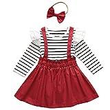 DaMohony Ropa de bebé niña con volantes de manga larga camisa, falda con tirantes, diadema, 3 piezas