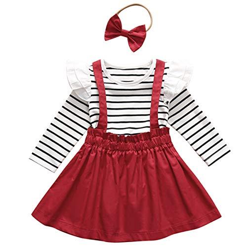 DaMohony Langarm-Hemd mit Rüschen, Strapsrock und Stirnband für Baby, Mädchen-Kleidung, 3-teiliges Set für Kleinkinder Gr. 120 cm(3-4 Jahre), rot