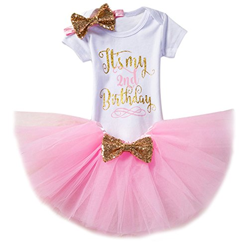 Newborn Baby Girl Two Year 1st Birthday Party Outfit Pink Cake Smash Photo Shoot Princess Clothes Letter Print Gold Shiny Sequin Bow Short Sleeve Romper Bodysuit Tulle Tutu Skirt Elastic Headband Set