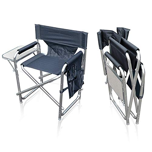 Sun Leisure Folding Alloy Sports Directors Chair, Strong Sturdy Solid Alloy Frame, With Folding Side Table And Side Pockets, Fishing Garden Camping Chair (Graphite chair without carry bag)