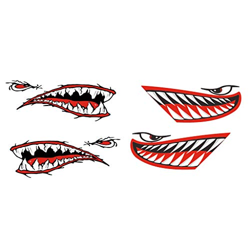 D DOLITY 4 Pieces Vinyl Shark Teeth Mouth Decals Stickers for Kayak/Canoe/Yacht- Red
