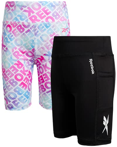Reebok Girls Active Shorts - Spandex Athletic High Waisted Gym Workout Yoga Bike Shorts (2 Pack), Size 5, Black/Printed White