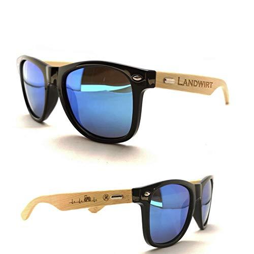 Heimatstolz Landwirt Herzschlag Sonnenbrille Bambus-Bügel mit Laser-Gravur - Polarisierte Gläßer mit UV Schutz 400
