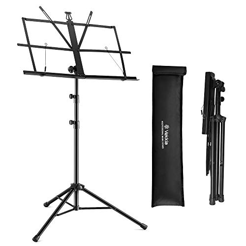 Vekkia Sheet Music Stand - Portable Folding Music Stand with Carrying Bag, Super Sturdy for Travel, Dual Use Metal Desktop Book Stand