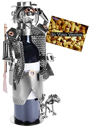 BRUBAKER Porta Botella de Vino - Cazadores - Portabotellas de Metal Decoración con Tarjeta de Felicitación - Regalo de Vino