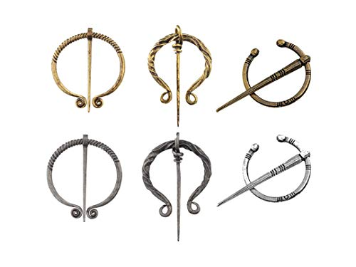 ANTIQUECOLLECTION Medieval Celtic Penannular Brooch Cloak Pin - Set of 6