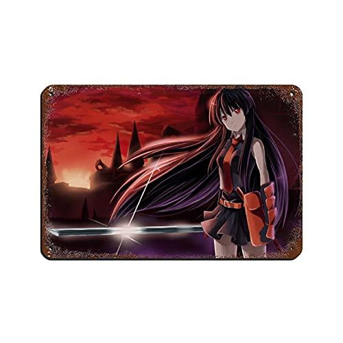 Anime Akame Ga Kill Akame 13 Retro Poster Metallo Targa Chic Art Retro Iron Painting Bar People Cave Cafe Family Garage Poster Decorazione Parete 20 × 30 cm
