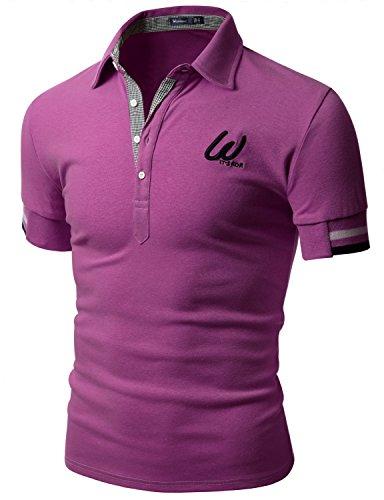 Doublju Men Trendy Skinny Fit Short Sleeve Point Polo T-shirt PURPLE, US XXX-Large / Asia XXXX-Large