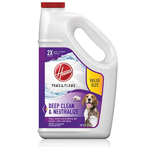 Hoover Paws & Claws Deep Cleaning Carpet Shampoo, Concentrated Machine Cleaner Solution for Pets, 128oz Formula, AH30933, White, 128 oz