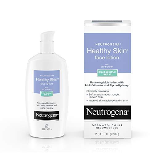 Neutrogena Healthy Skin Face Moisturizer Lotion with SPF 15 Sunscreen & Alpha Hydroxy Acid - Anti Wrinkle Cream with Glycerin, Glycolic Acid, Alpha Hydroxy, Vitamin C, Vitamin E & Vitamin B5, 2.5 fl. oz