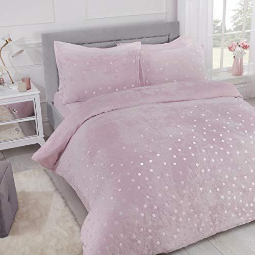 Sleepdown Polka Dot Foil Fleece Blush Pink Soft Warm Cosy Duvet Cover Quilt Bedding Set with Pillowcases - Double (200cm x 200cm)