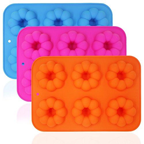 3 pièces en forme de citrouille en forme de donut Moules, FineGood anti-adhésif à gteau en silicone Cookie plateaux - Bleu, Orange, Rose rouge