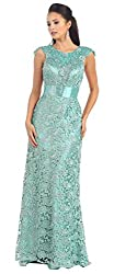 Sage Cap Sleeve Rhinestones Lace Dress #27182