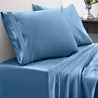 Sweet Home Collection 1800 Thread Count Bed Set Egyptian Quality Brushed Microfiber 4 Piece Deep Pocket Sheets, Queen, Denim