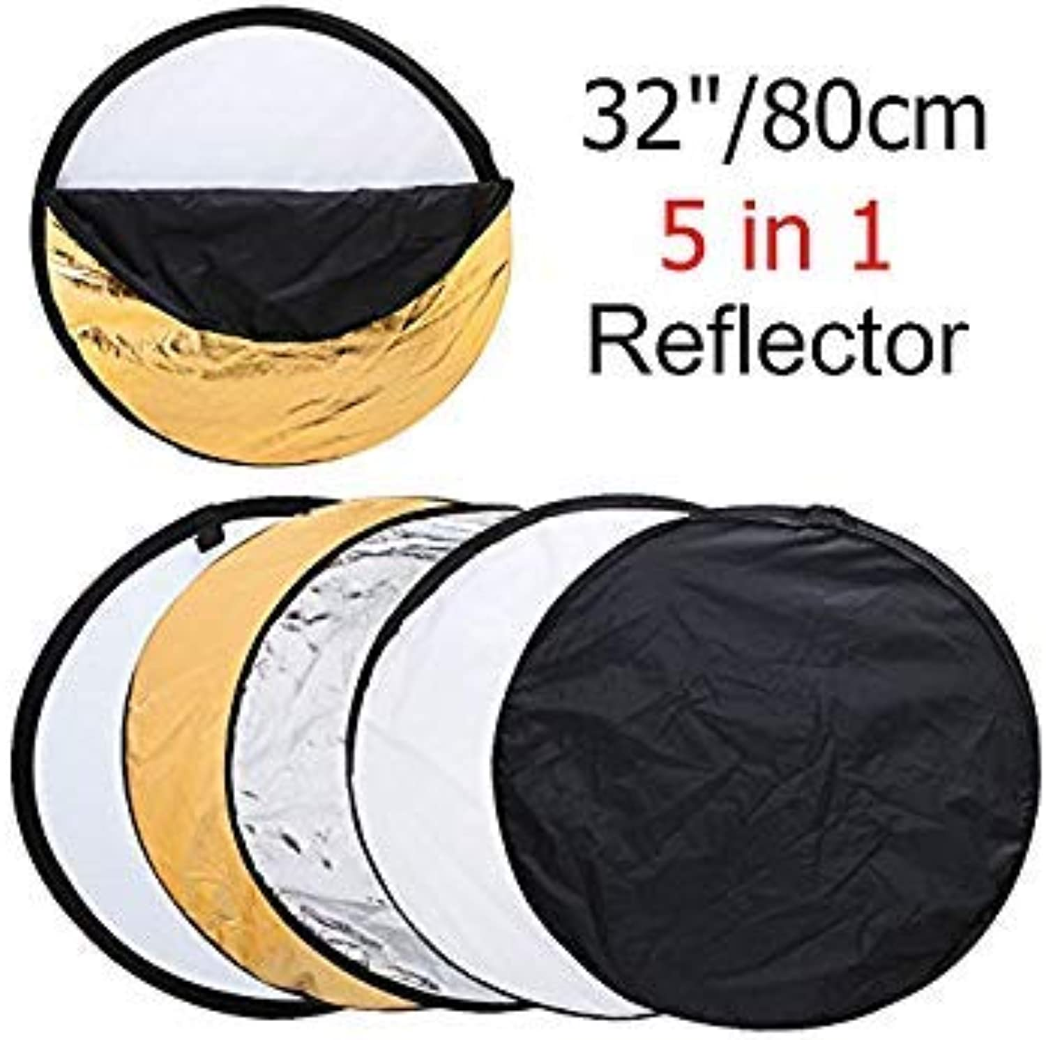 32  80cm 5 in 1 Round Photography Photo Reflector Portable Collapsible Light Round Reflector with Zipped Round Carrying Bag