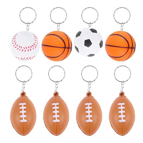 LIOOBO 20 Stücke Fußball Schlüsselanhänger Rugby Basketball Anhänger Kinder Schlüsselband Taschenanhänger Lustige Schlüsselring für Kinder Erwachsene Zappeln Mitgebsel Spielzeug